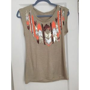 Tops - Short sleeve top with Sequins SizeM